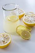 Freshly pressed yuzu juice in a glass carafe