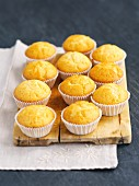 Vanilla muffins on a chopping board