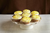 Lemon cupcakes on a cake stand