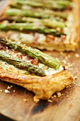 Asparagus cake on a wooden board