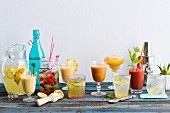 Various fruity summer drinks