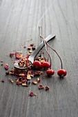 A spoonful of rosehip tea leaves