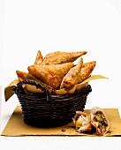 A basket of samosas