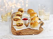 Mini burgers and mini hot dogs