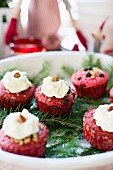 Red hazelnut muffins with cream cheese frosting