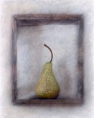 A pear in a wooden frame