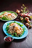Couscous salad with prawns, lemons and pomegranate seeds