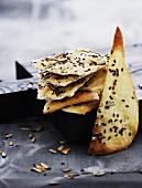 Crispy unleavened bread with sesame and sunflower seeds