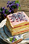 Sponge cake decorated with sugared violets