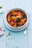 Gnocchi with Mediterranean vegetables in an aluminium dish