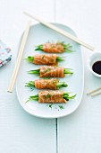 Salmon rolls filled with cucumber