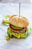 Hamburgers with avocado and mango cream
