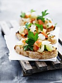 Bruschetta with tomato and parsley