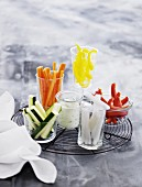 Vegetable crudités with a yogurt dip