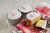 Cupcakes decorated with hearts for Valentine's Day