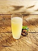 A glass of spiced apple lemonade