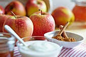 Fresh apples, yogurt and cinnamon