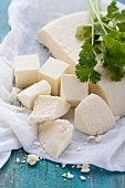 Paneer cheese, sliced