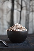 Buckwheat pasta cooked in a shimeji broth