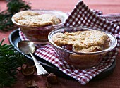 Hazelnut souffles with cherries (Christmas)