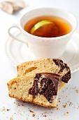 Marble cake and black tea with lemon
