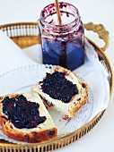 Blueberry and orange preserve with ginger
