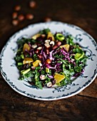 Kale salad with oranges and hazelnuts