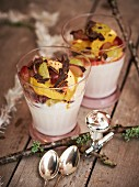 Chocolate yoghurt with fruit salad