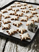 Cinnamon stars on a baking tray with a cutter