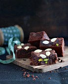 Christmas brownies with almonds and pistachios