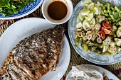 Grilled Fish and side dishes (Vientiane, Laos)