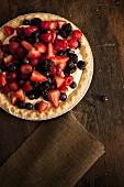 Berry pie with vanilla cream