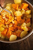 Mashed sweet potatoes being made