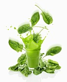 A splashing spinach smoothie