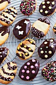 Cheerful Easter biscuits decorated with dark chocolate