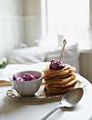 Pancakes with blueberry cream
