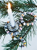 Hand-crafted, glittery, sugar-bead hoops for Christmas tree