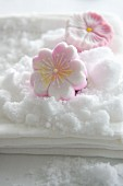 Sugar flowers made from compacted sugar (Rakugan)