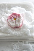 A sugar flower made from compacted icing sugar (Rakugan)