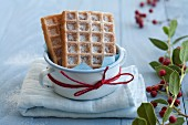 Waffles with icing sugar for Christmas