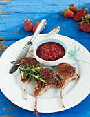 Lamb chops with strawberry chutney