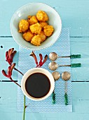 Deep-fried sweet potato bites with soy sauce (Asia)