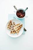 Cinnamon waffles with plum compote