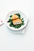 Pollack fillets with spinach and ginger