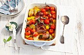 Pork fillet with potatoes, cherry tomatoes and sage butter
