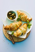 Croissants filled with green olives