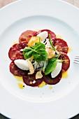 Sliced beetroot with orange vinaigrette and Jerusalem artichoke puree