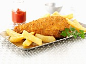 Breaded chicken leg with chips