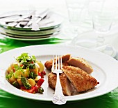 Crispy chicken breast with potato and asparagus salad