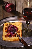 Gorgonzola waffles with red wine onions
